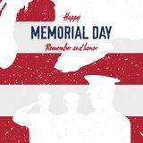 Happy memorial day. Vintage retro greeting card with flag and soldier with old-style texture. National American holiday event. Fla. T Vector illustration EPS10 Stock Images