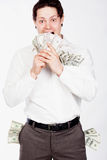 Happy men with dollars in pockets Stock Photography