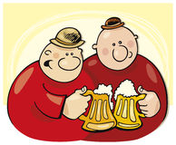Happy men drink beer Royalty Free Stock Photo