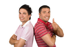 Happy men friends with attitude and thumb up Stock Image