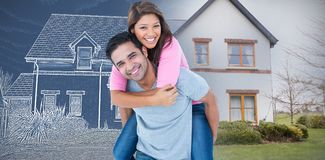 Composite image of happy man giving his girlfriend piggy back stock image