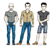 Happy men group standing wearing casual clothes. Vector people i Royalty Free Stock Photography