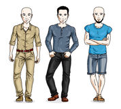 Happy men group standing wearing fashionable casual clothes. Vec Royalty Free Stock Photos