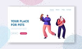 Happy Men Having Leisure Time and Fun with Dogs, Playing with Puppy. Spend Time with Domestic Animals, Care, Lifestyle, Leisure vector illustration
