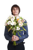 Happy men hold bouquet of flowers Stock Images