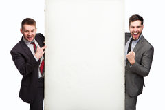 Happy men after panel Stock Photography
