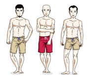 Happy men posing with athletic body, wearing beach shorts. Vecto Stock Image