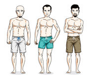 Happy men posing with athletic body, wearing beach shorts. Vecto Royalty Free Stock Image