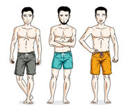 Happy men posing with perfect body, wearing beach shorts. Vector Stock Image