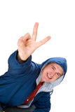 Happy men show fingers victory. Isolated over white background Royalty Free Stock Photography