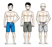 Happy men standing in colorful beach shorts. Vector different pe. Ople characters set Stock Images