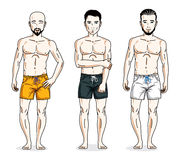 Happy men standing in colorful beach shorts. Vector different pe Stock Photo