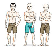 Happy men standing in colorful beach shorts. Vector different pe Stock Photography