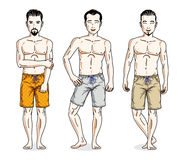 Happy men standing in colorful beach shorts. Vector different pe Stock Images