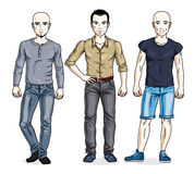 Happy men standing in stylish casual clothes. Vector set of beau Stock Image
