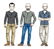 Happy men standing in stylish casual clothes. Vector set of beau Royalty Free Stock Photo