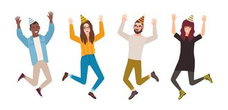 Happy men and women celebrating birthday, anniversary or holiday. Joyful jumping people wearing party hats. Flat male. And female cartoon characters isolated on Royalty Free Stock Images