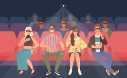 Happy men and women sitting in chairs at three-dimensional movie theater. Friends or mates in 3d glasses watching film vector illustration