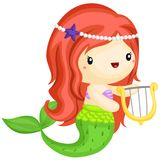 Happy Mermaid. A happy mermaid with her harp royalty free illustration