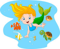 Happy mermaid with sea animal on sea water background Royalty Free Stock Image