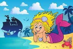 Happy mermaid theme 3 Royalty Free Stock Photography
