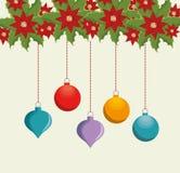 happy merry christmas balls Stock Photo