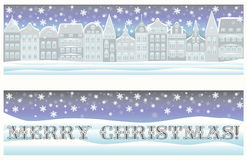 Happy Merry Christmas banners with winter city. Vector royalty free illustration