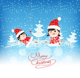 Happy merry christmas with funny kids Royalty Free Stock Photo