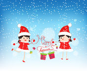 Happy merry christmas with funny kids Stock Photos