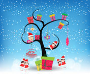 Happy merry christmas with funny kids and gifts.  Stock Image