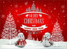 Happy Merry Christmas and happy new year companions. Snowfalt and star Royalty Free Stock Image