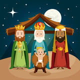 Happy merry christmas manger character Royalty Free Stock Photo