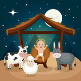 Happy merry christmas manger character Royalty Free Stock Photography
