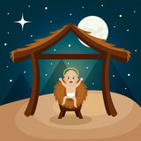 Happy merry christmas manger character Royalty Free Stock Images