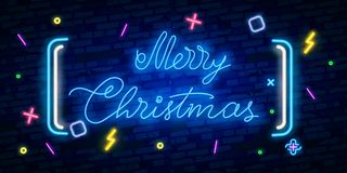 Happy Merry Christmas neon sign. Night party. Neon sign, bright signboard, light banner. stock illustration
