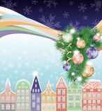 Happy Merry Christmas and New Year, winter city Stock Images