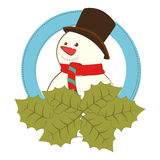 Happy merry christmas snowman card Stock Photo