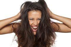 Happy with messy hair Stock Photos