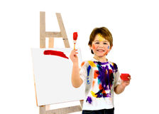 Happy messy little artist Stock Photos