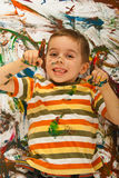 Happy messy by pointing Stock Photography