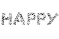 Happy from metal screw-nuts Stock Photos
