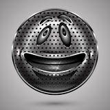Happy Metal  Smiley Face Button Royalty Free Stock Image