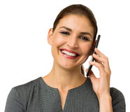 Happy Mid Adult Businesswoman Answering Smart Phone Royalty Free Stock Images