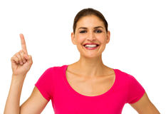 Happy Mid Adult Woman Pointing Upwards Royalty Free Stock Photo