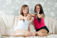 Happy mid adult women  showing thumb up Stock Photo