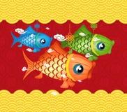 Happy mid autumn festival background carp lantern design Royalty Free Stock Image