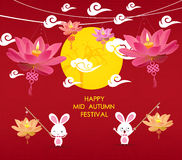Happy Mid Autumn Festival background with rabbit and lotus lanterns Royalty Free Stock Image