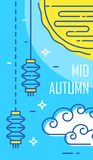 Happy Mid-Autumn Festival card with moon and lanterns on blue background. Thin line flat design. Vector banner Stock Photography