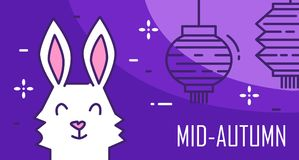 Happy Mid-Autumn Festival card with rabbit and lanterns on violet background. Thin line flat design. Vector Stock Images