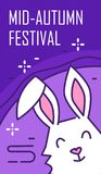 Happy Mid-Autumn Festival. Greeting card with rabbit on violet background. Thin line flat design. Vector Royalty Free Stock Photos